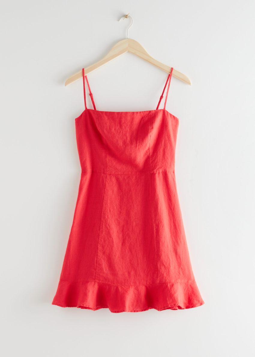 앤아더스토리즈 스파게티 스트랩 리넨 미니 드레스의 레드컬러 Product입니다.
