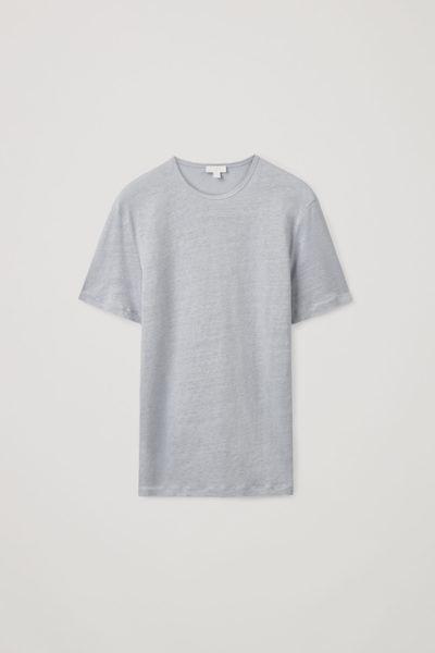 COS default image 5 of 블루 in 쇼트 슬리브 리넨 티셔츠