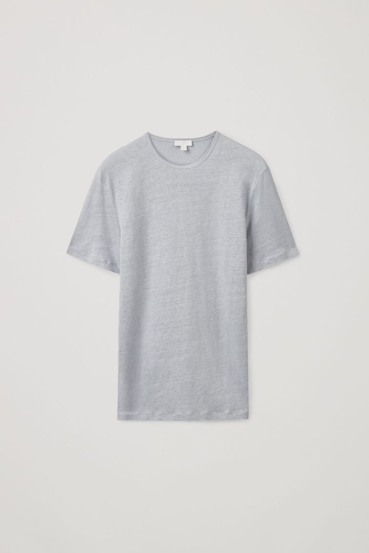 COS 쇼트 슬리브 리넨 티셔츠의 블루컬러 Product입니다.