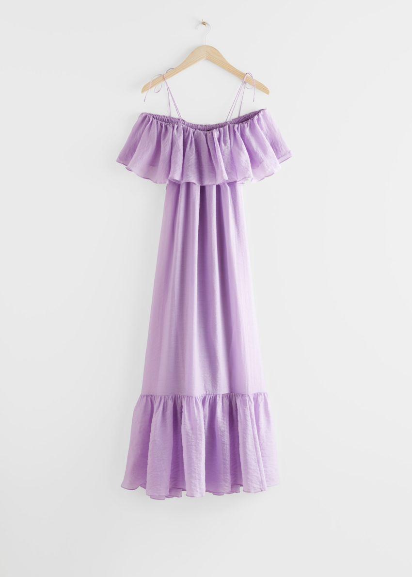 앤아더스토리즈 프릴 맥시 드레스의 라일락컬러 Product입니다.