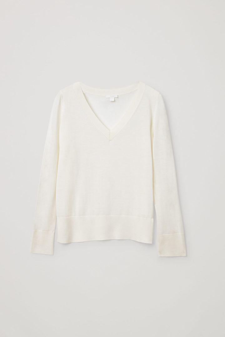 COS 메리노 울 V넥 스웨터의 오프 화이트컬러 Product입니다.