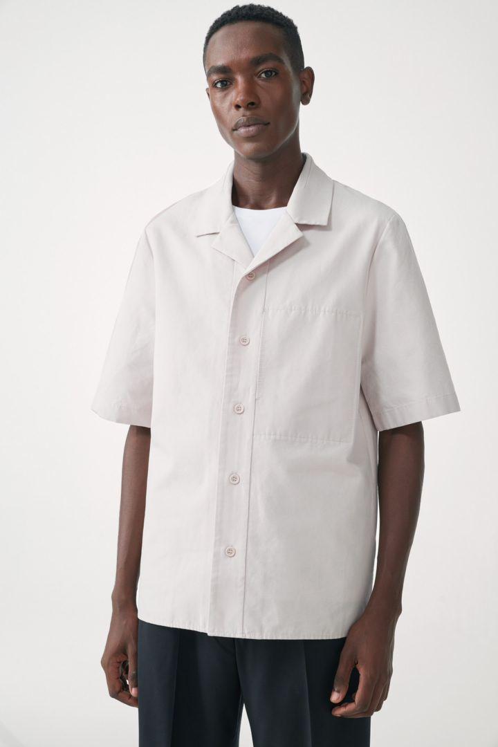 COS default image 12 of 브라운 in 쇼트 슬리브 코튼 셔츠