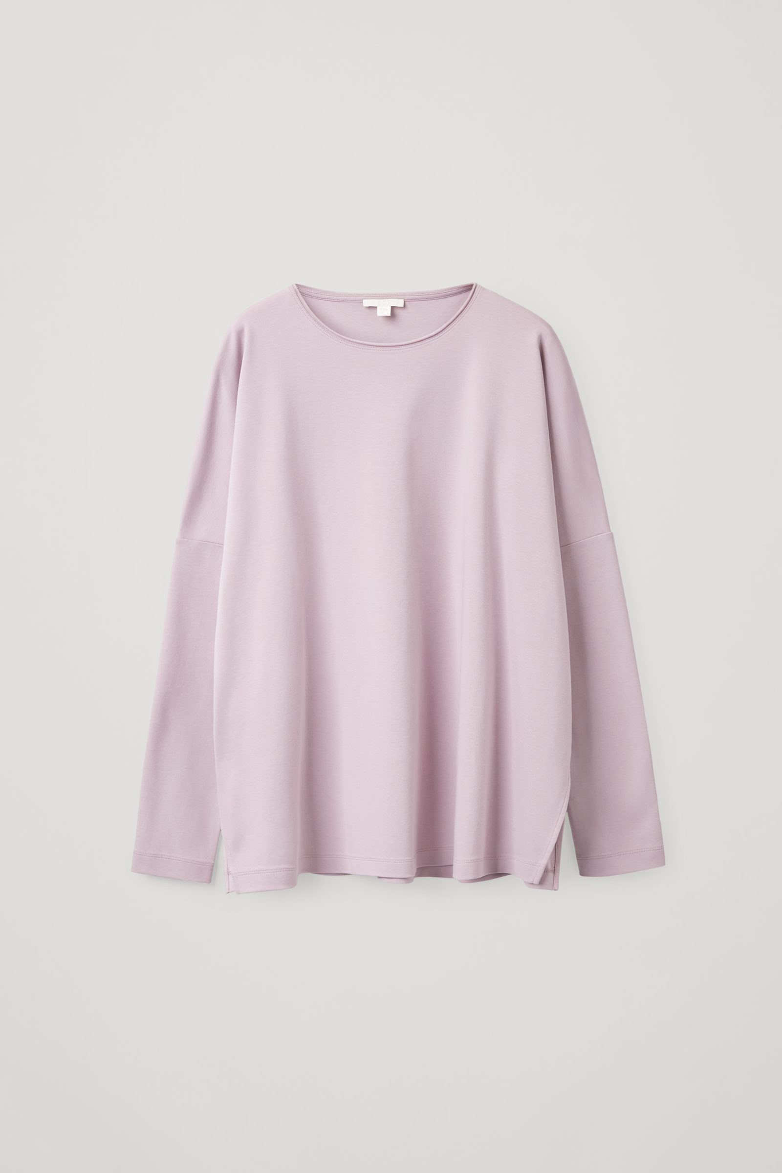 COS 롱 슬리브 티셔츠의 라일락컬러 Product입니다.