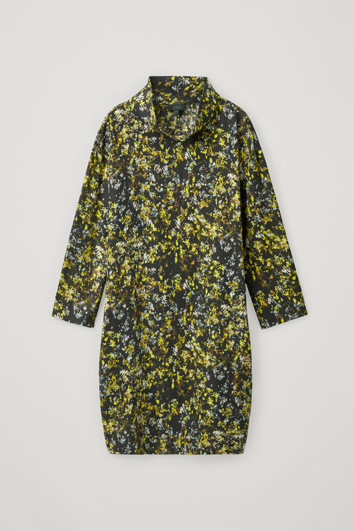 COS 롱 슬리브 폴디드 칼라 드레스의 옐로우 / 그레이 / 블랙컬러 Product입니다.