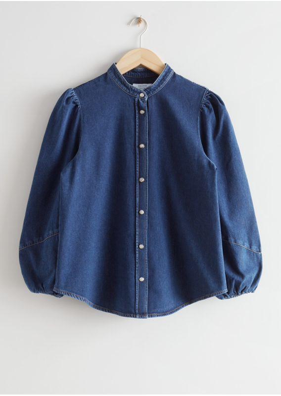 &OS image 1 of 미드 블루 in 퍼프 슬리브 데님 셔츠