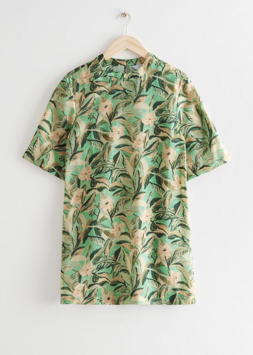 앤아더스토리즈 플로럴 프린트 미니 드레스의 그린 플로럴컬러 Product입니다.