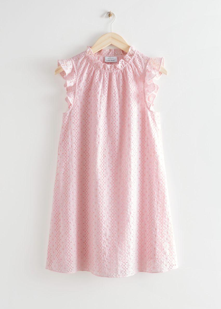 앤아더스토리즈 프릴 브로드리 앙글레즈 미니 드레스의 라이트 핑크컬러 Product입니다.