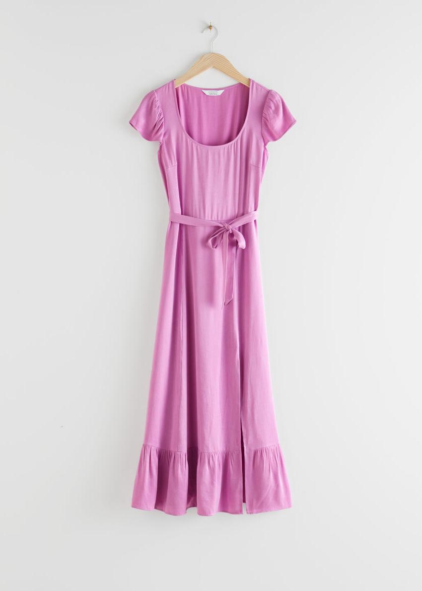 앤아더스토리즈 스쿠프 넥 미디 드레스의 핑크컬러 Product입니다.