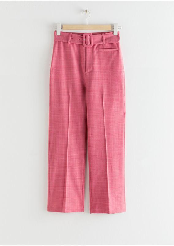 &OS image 28 of 핑크 in 벨티드 플레이드 킥 플레어 트라우저