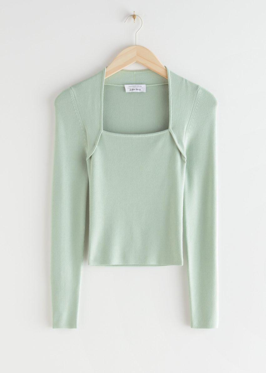 앤아더스토리즈 롱 슬리브 튜뷸러 넥 스웨터의 민트컬러 Product입니다.