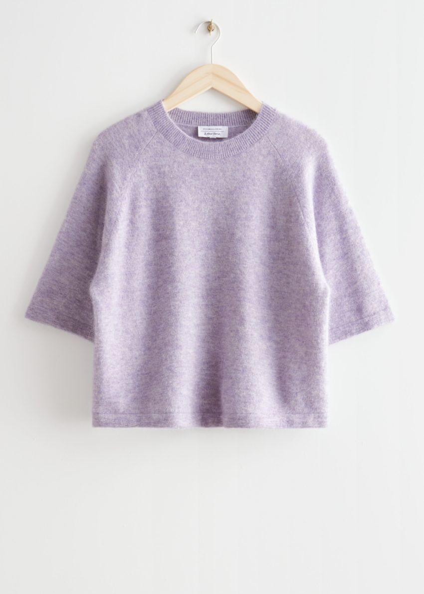 앤아더스토리즈 박시 알파카 티셔츠의 라일락컬러 Product입니다.