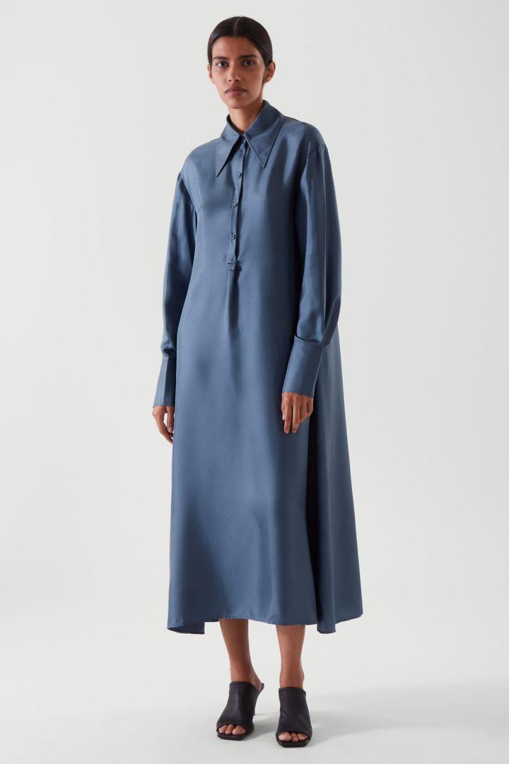 COS default image 9 of 블루 in 실크 미디 셔츠 드레스