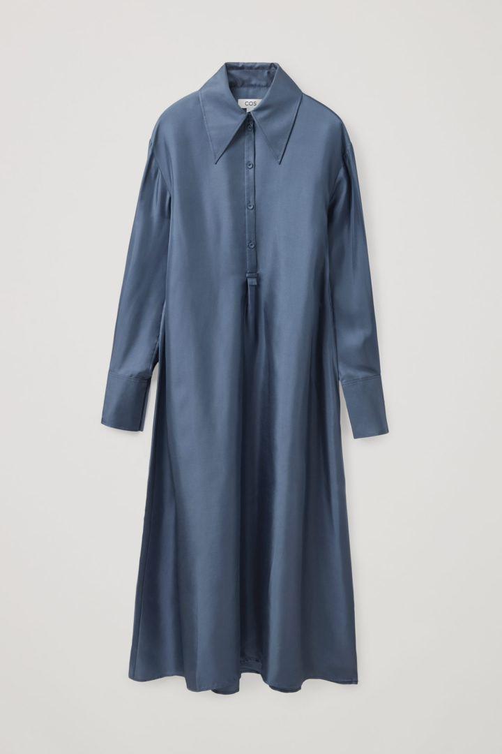 COS hover image 9 of 블루 in 실크 미디 셔츠 드레스