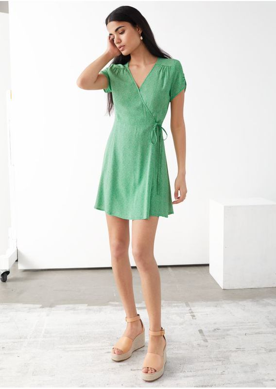 &OS image 1 of 그린 프린트 in 마이크로 플로럴 랩 미니 드레스