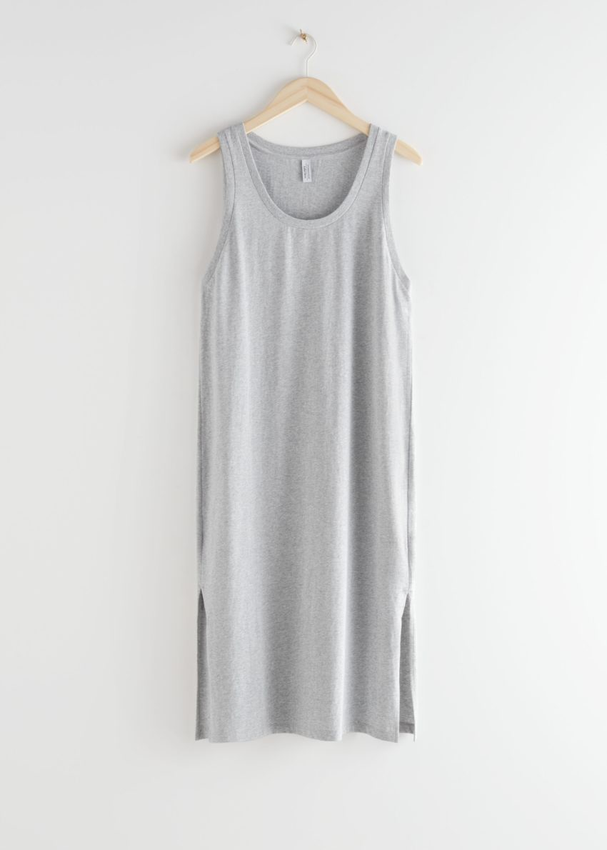 앤아더스토리즈 릴렉스드 듀오 슬릿 미디 드레스의 그레이 멜란지컬러 Product입니다.