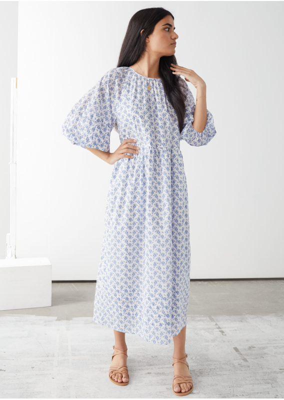 &OS image 1 of 블루 플로럴 in 오버사이즈 퍼프 숄더 맥시 드레스