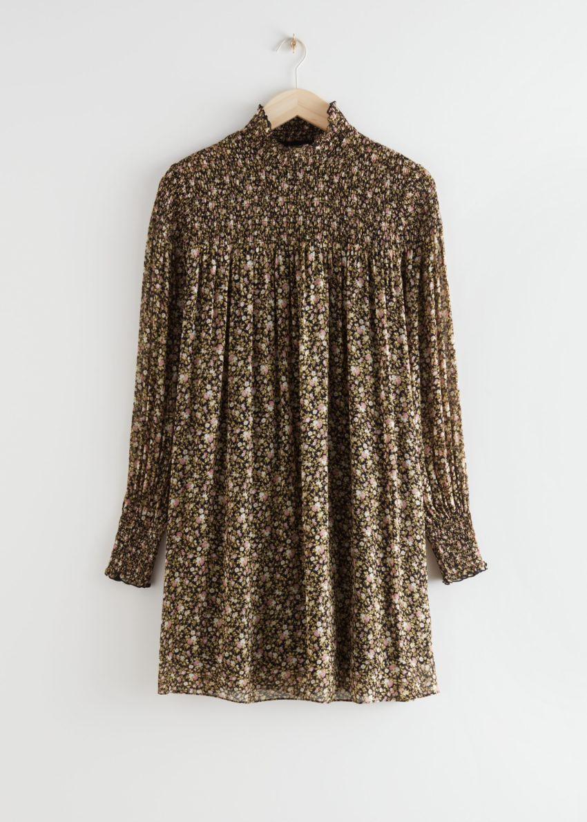 앤아더스토리즈 시어 스모크 미니 드레스의 플로럴 프린트컬러 Product입니다.
