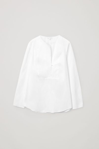 COS default image 5 of 화이트 in 오가닉 코튼 빕 디테일 셔츠