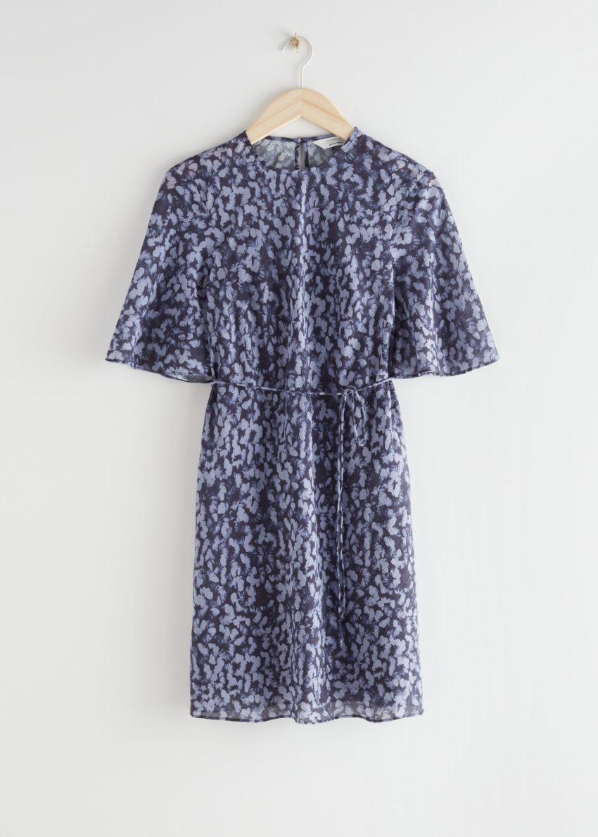 앤아더스토리즈 벨티드 A 라인 미니 드레스의 퍼플 프린트컬러 Product입니다.