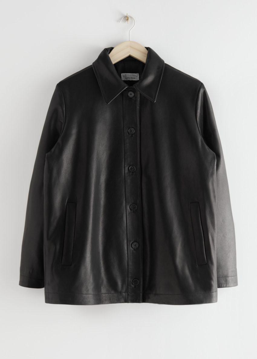 앤아더스토리즈 패디드 레더 재킷의 블랙컬러 Product입니다.