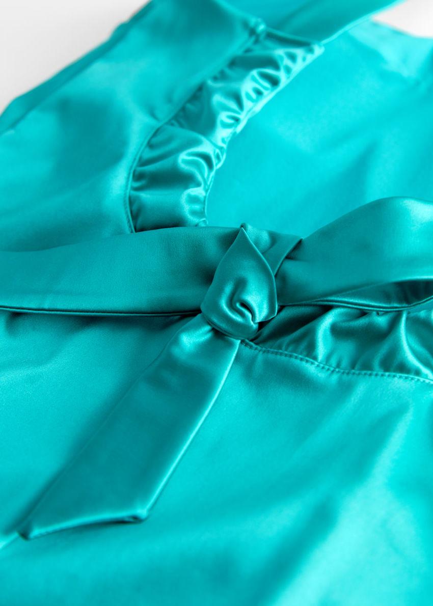 앤아더스토리즈 새틴 백 보우 스윔수트의 터쿼이즈컬러 Detail입니다.