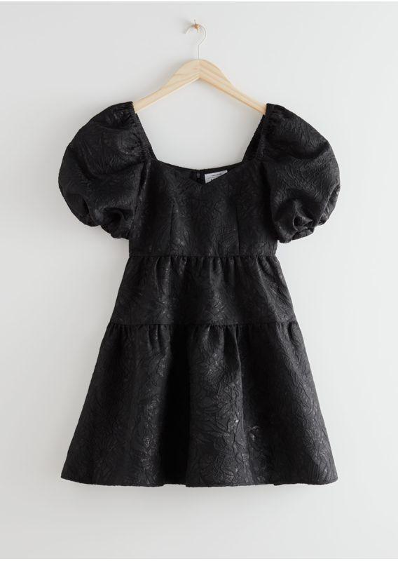 &OS image 21 of  in 와이드 퍼프 슬리브 자카드 미니 드레스
