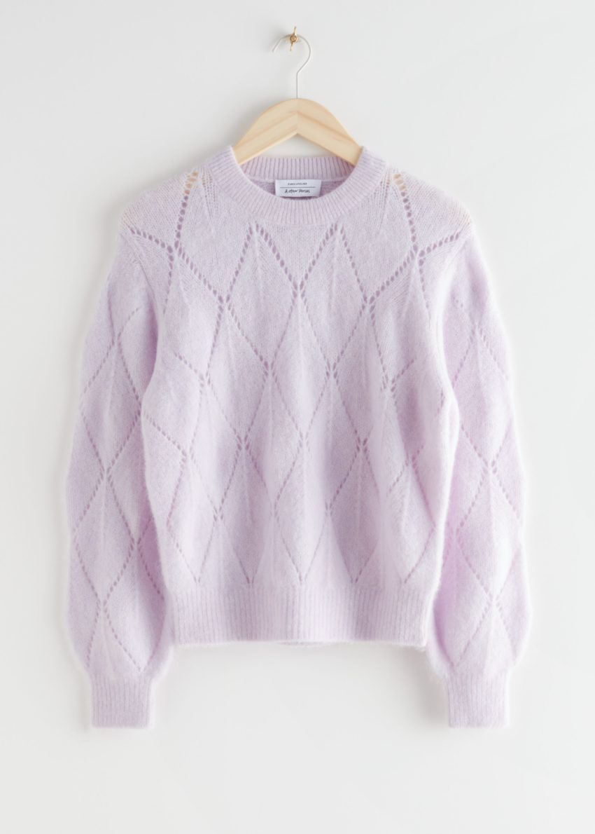 앤아더스토리즈 알파카 블렌드 니트 스웨터의 라일락컬러 Product입니다.