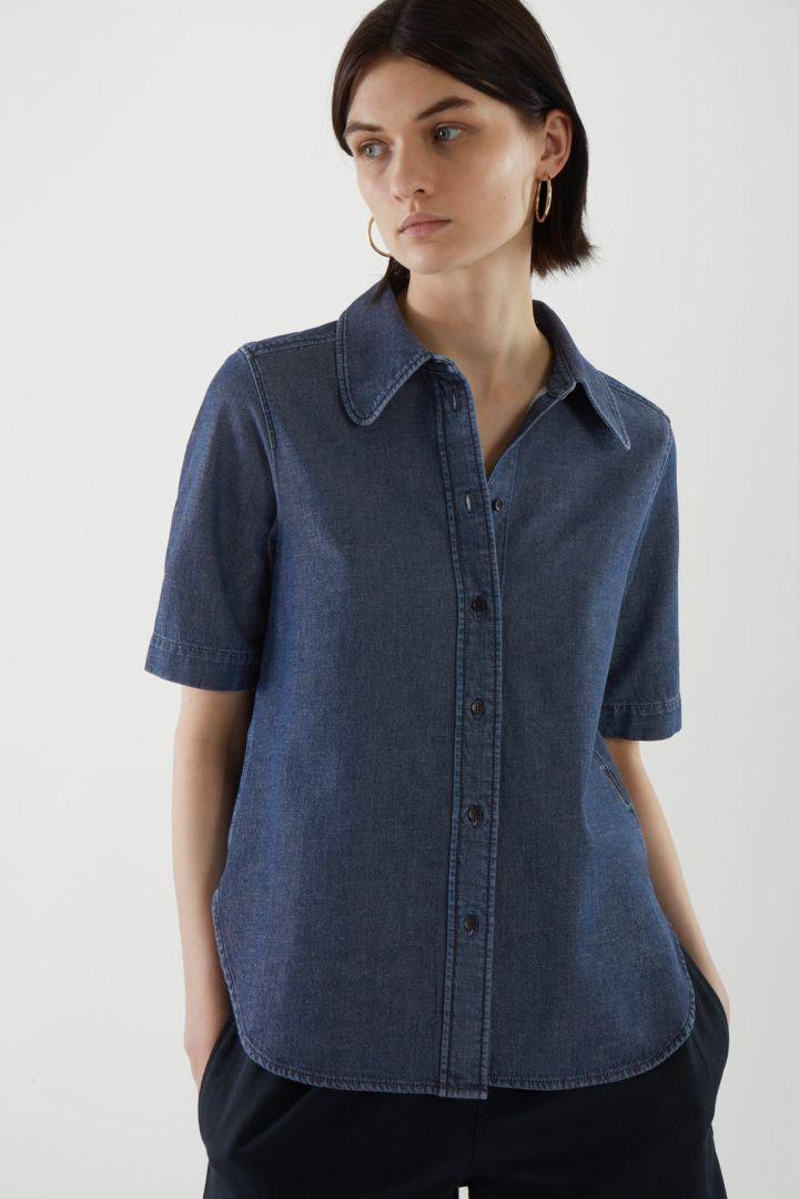 COS default image 1 of 블루 in 쇼트 슬리브 셔츠