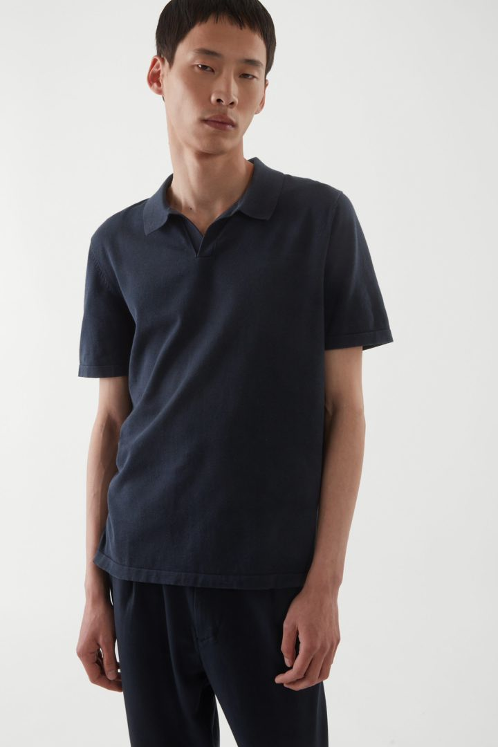COS default image 6 of 블루 in 레귤러 핏 폴로 셔츠