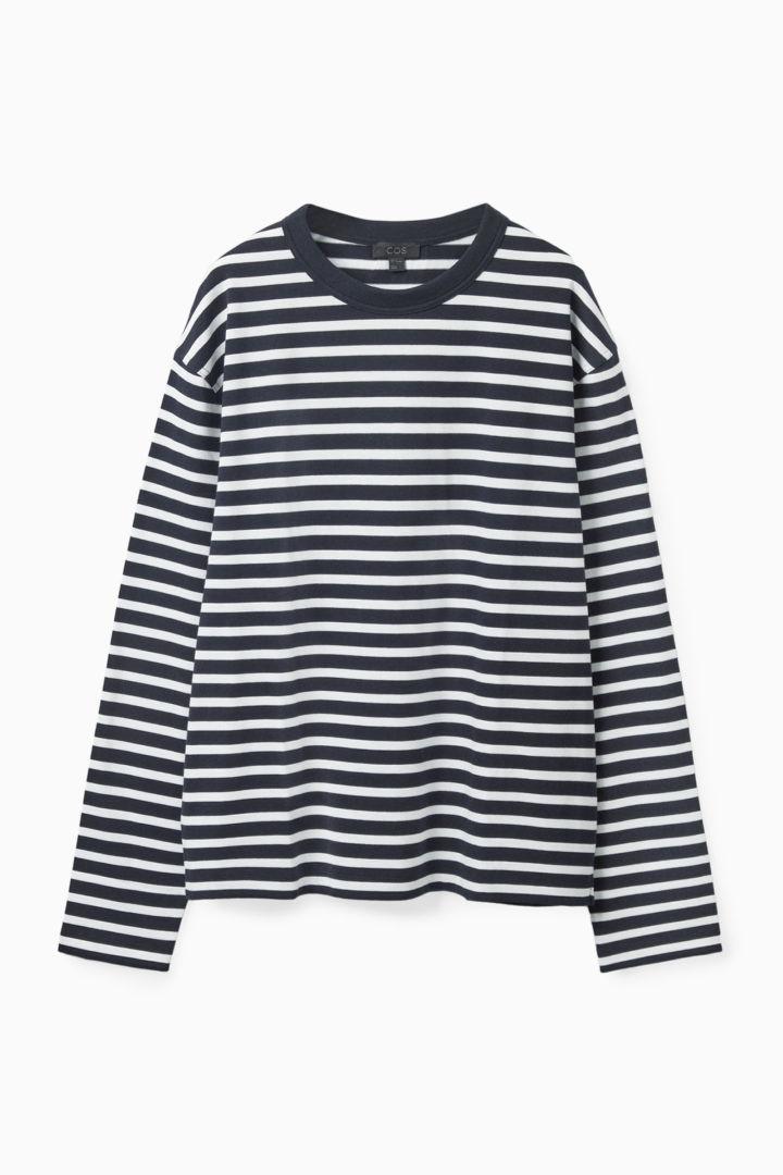 COS 브레톤 스트라이프 롱 슬리브 티셔츠의 네이비 / 화이트컬러 Product입니다.