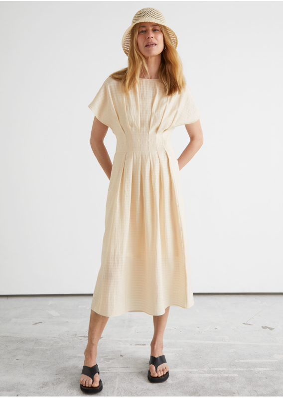 &OS image 3 of  in 피티드 웨이스트 와이드 슬리브 미디 드레스