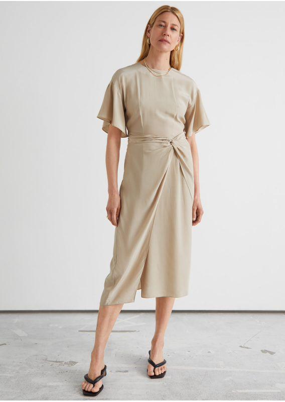 &OS image 22 of  in 에이시메트릭 트위스트 디테일 미디 드레스
