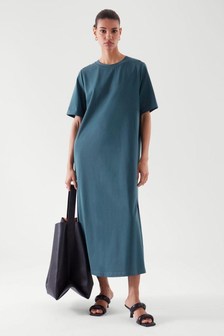 COS default image 11 of 터쿼이즈 in 오버사이즈 티셔츠 드레스