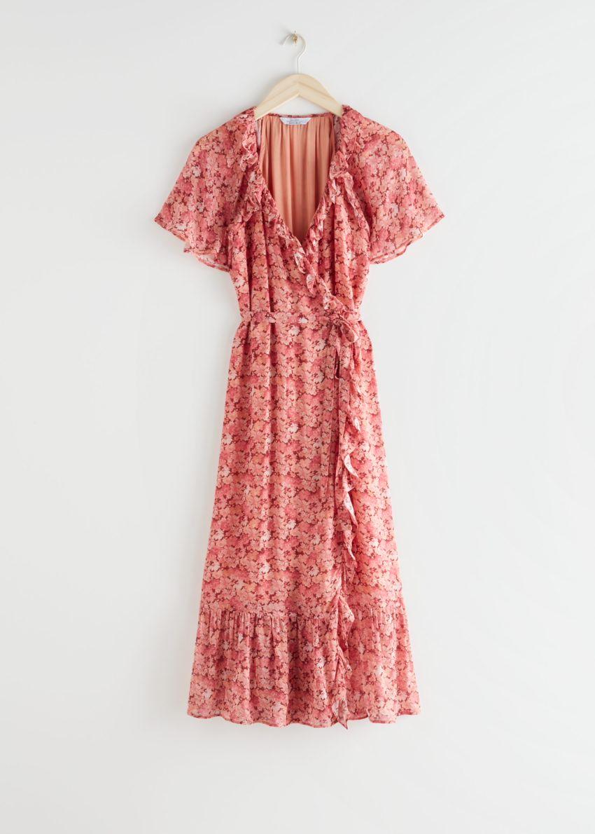 앤아더스토리즈 러플 미디 랩 드레스의 레드 플로럴컬러 Product입니다.