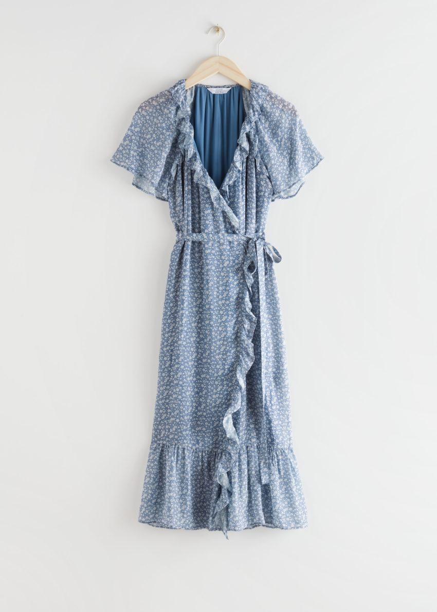 앤아더스토리즈 러플 미디 랩 드레스의 블루 플로럴컬러 Product입니다.