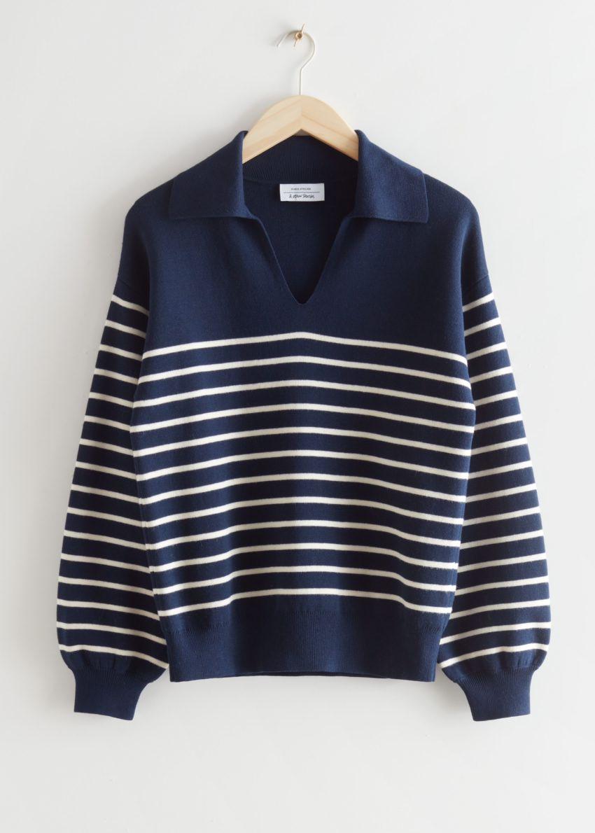 앤아더스토리즈 릴렉스드 세일러 스트라이프 스웨터의 블루 스트라이프컬러 Product입니다.