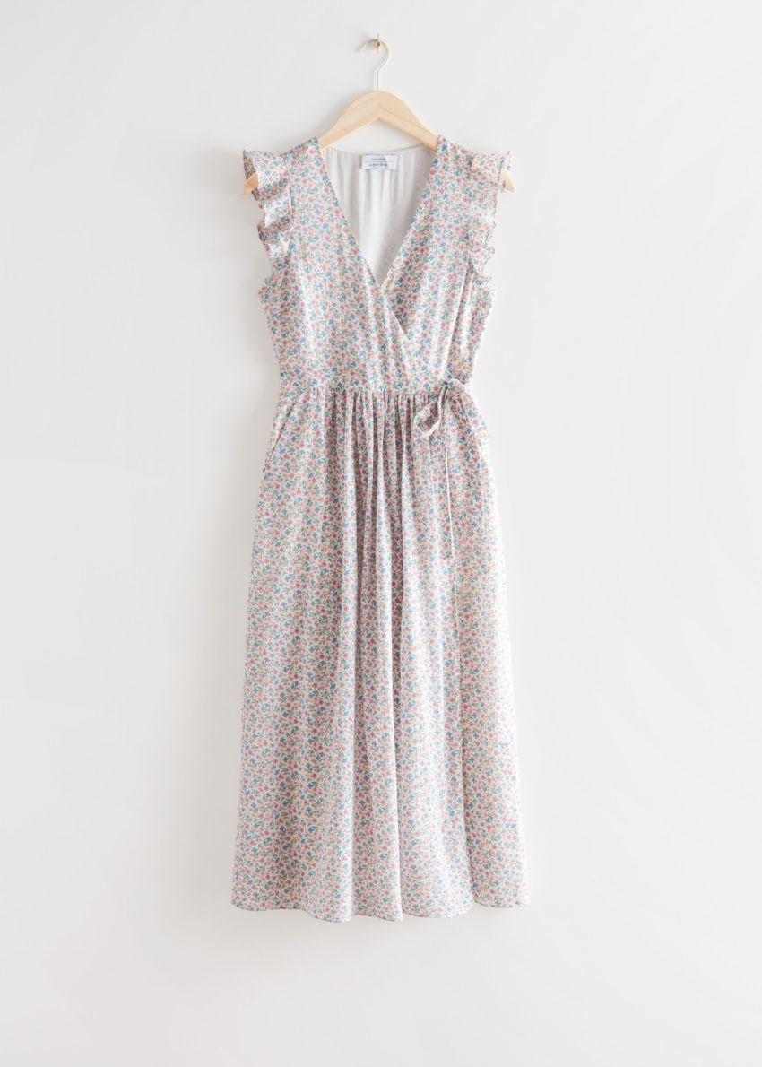 앤아더스토리즈 러플 미디 랩 드레스의 핑크 프린트컬러 Product입니다.