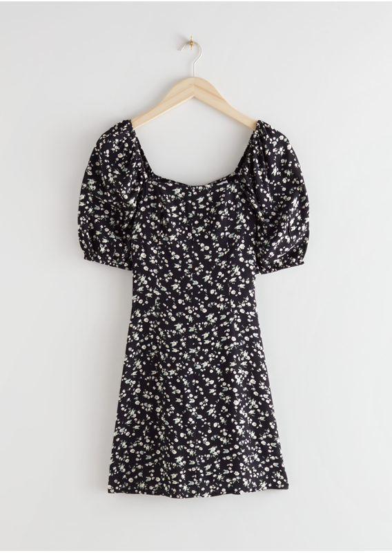 &OS image 2 of 블랙 프린트 in 퍼프 슬리브 미니 드레스