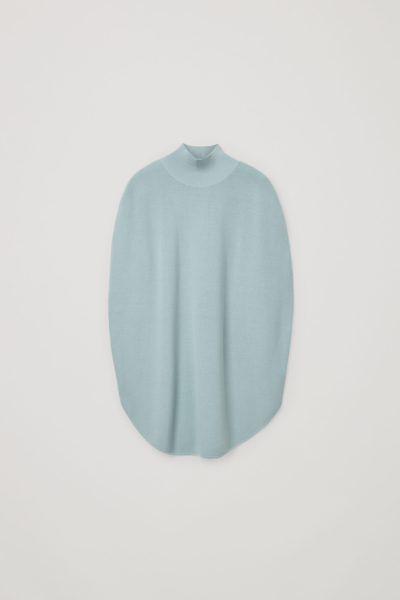 COS image 3 of 라이트 터쿼이즈 in 메리노 울 롤넥 튜닉 드레스