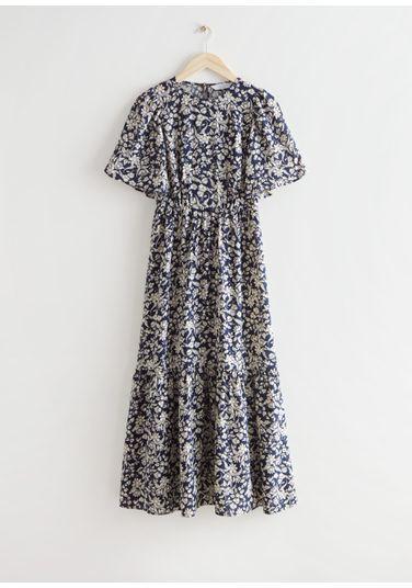 &OS image Style With default 0 of 블루 플로럴 in 프린트 퍼프 슬리브 맥시 드레스