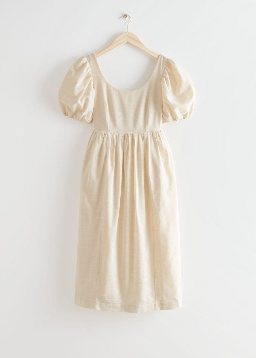 앤아더스토리즈 퍼프 슬리브 미디 드레스의 크림컬러 Product입니다.