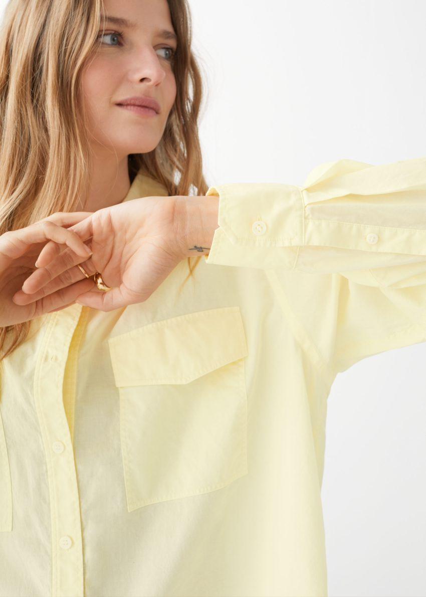 앤아더스토리즈 오버사이즈 버튼 업 셔츠의 옐로우컬러 ECOMLook입니다.