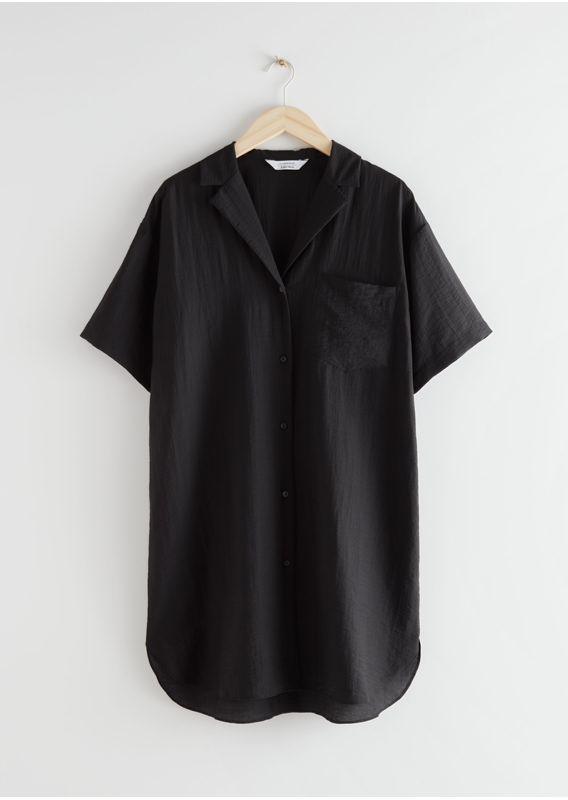 &OS image 1 of 블랙 in 릴렉스드 셔츠 미니 드레스