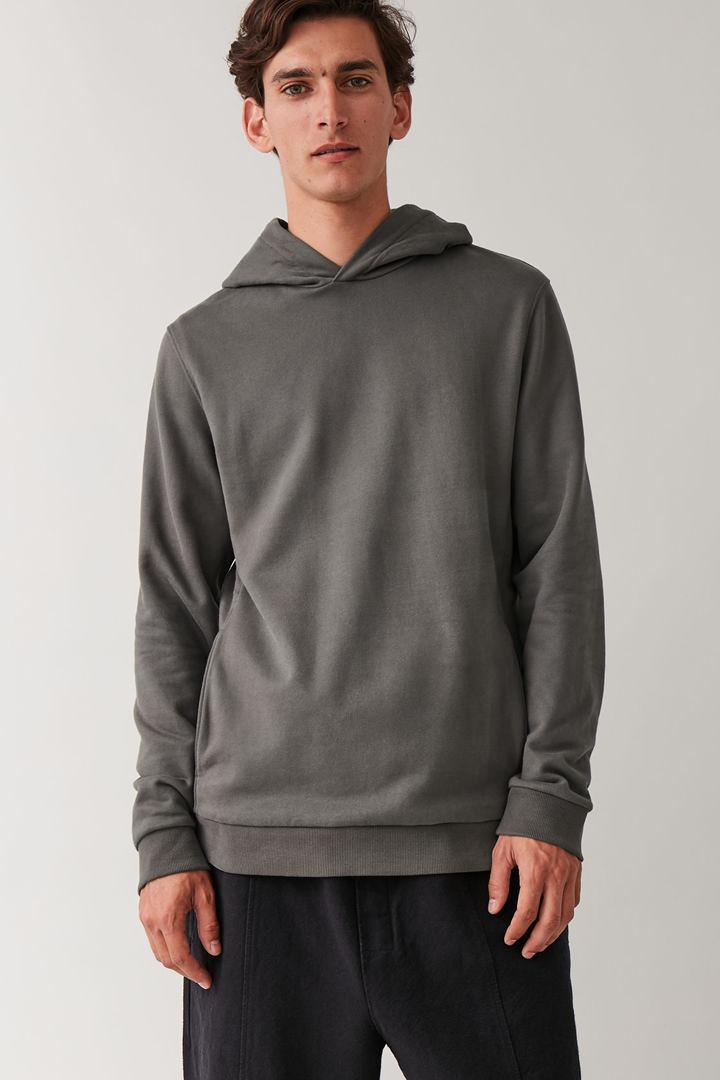 COS default image 4 of 그레이 in 코튼 후디드 스웨터
