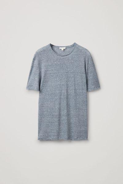 COS default image 10 of 블루 in 쇼트 슬리브 리넨 티셔츠