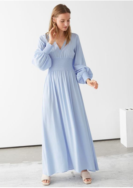 &OS image 23 of 블루 in 스모크 웨이스트 맥시 드레스