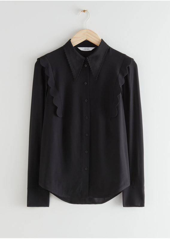 &OS image 31 of 블랙 in 스캘럽 자카드 셔츠