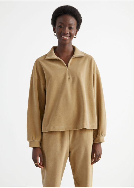 &OS image 2 of 카라멜 in 박시 하프 집 벨루어 라운지 스웨터