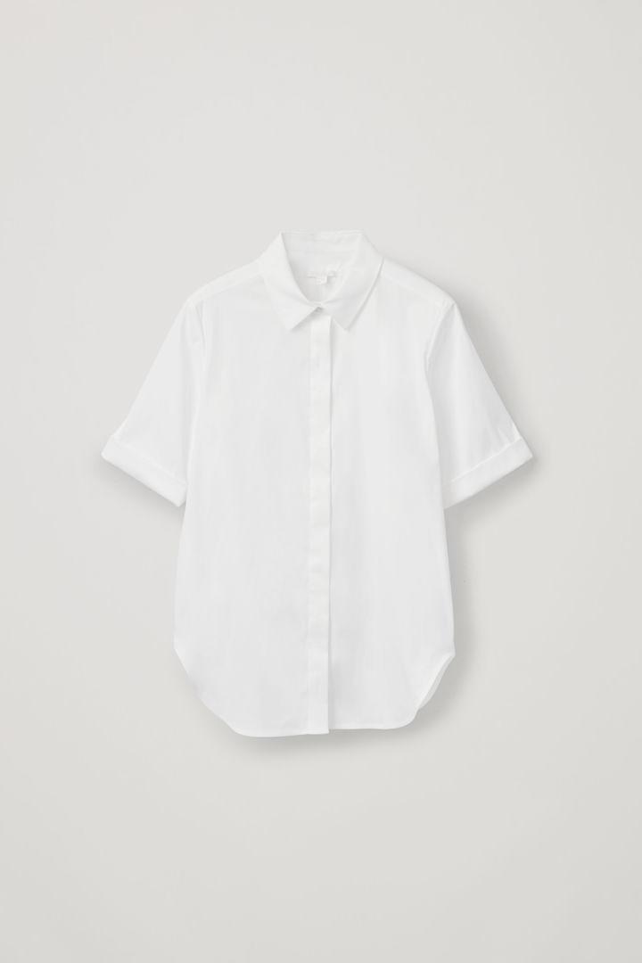COS hover image 4 of 화이트 in 턴업 슬리브 슬림 셔츠