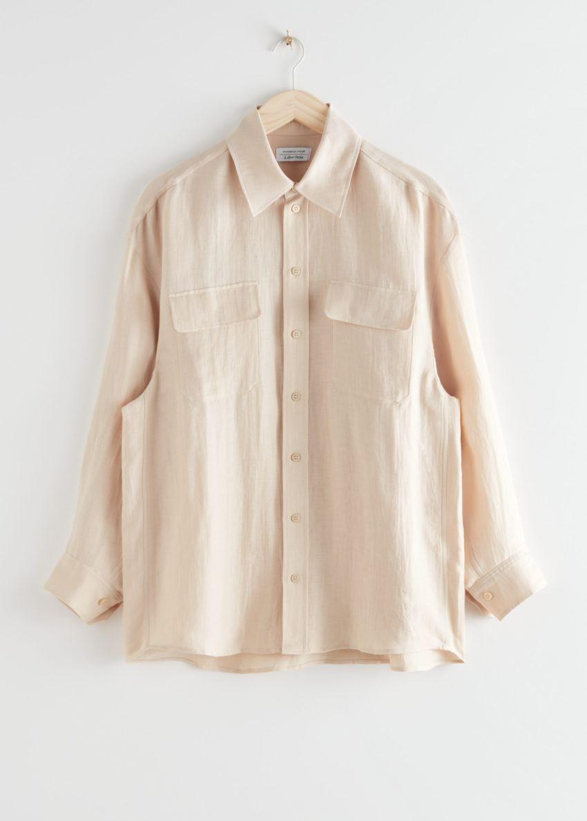 앤아더스토리즈 오버사이즈 리넨 셔츠의 베이지컬러 Product입니다.